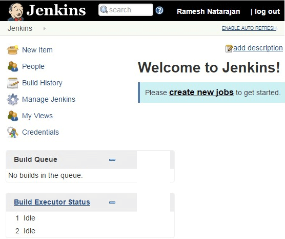 Jenkins Welcome Screen