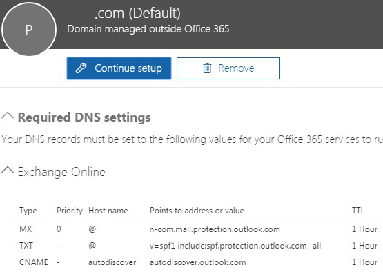 Office 365 DNS MX Records