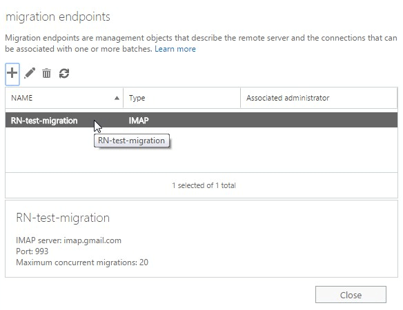 Office 365 Test Migration Endpoint