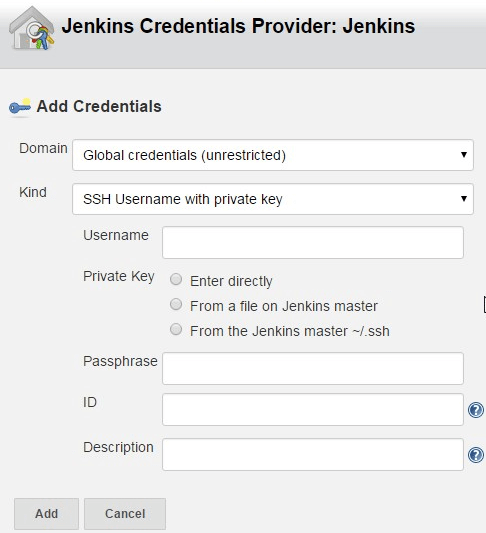 Jenkins Git Create Credentials SSH