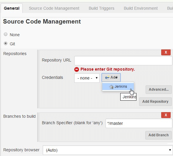 Jenkins Job Git Source Code Management Tab