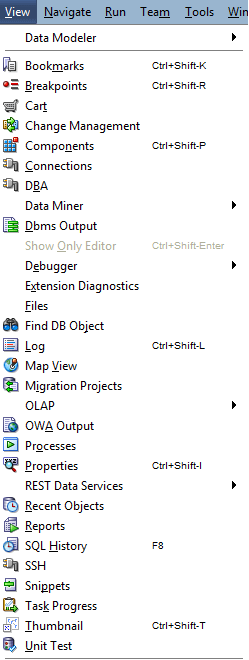 SQL Developer View Menu