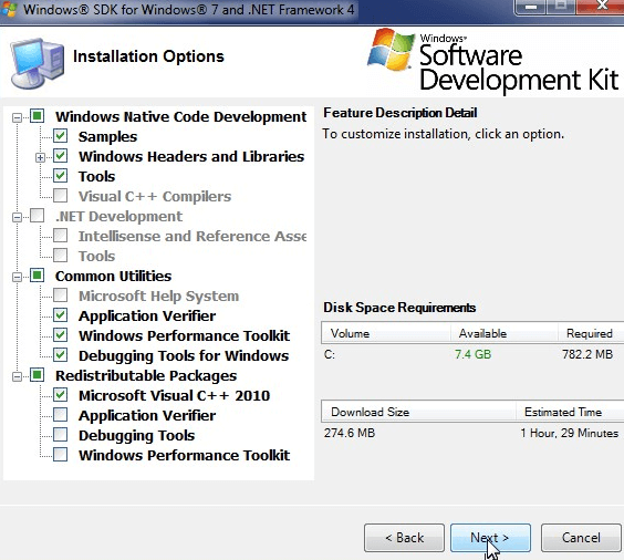 Install Windows SDK on Win 7