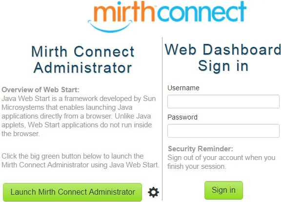 Mirth Connect Login Page
