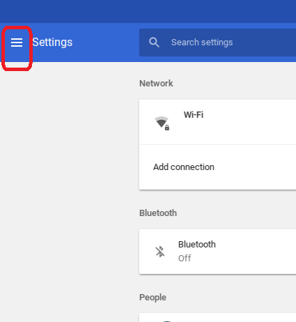 Chrome OS Update - Settings Main Menu