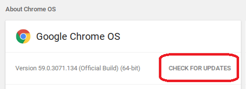 Chrome OS Update - Check For Updates