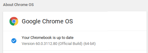 Chrome OS Update - Up to Date