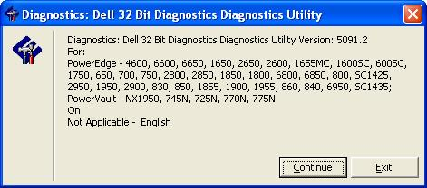 Dell Diagnostics Utility Welcome Screen