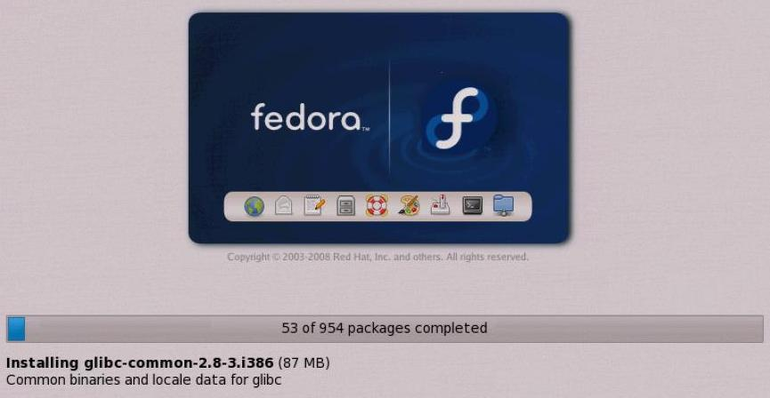 Fedora Installation Progress