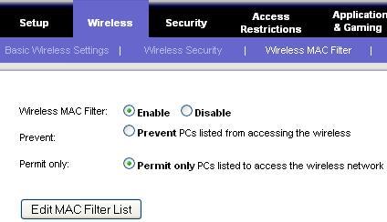 Enable MAC Filter