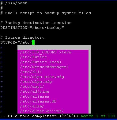 Vim Filename Completion Using Control X
