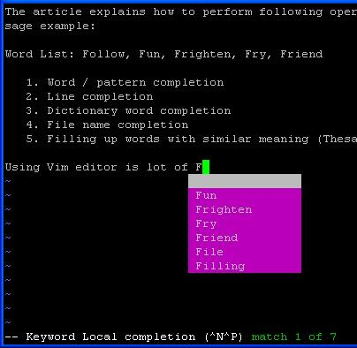 Vim Word Completion Using Control-X