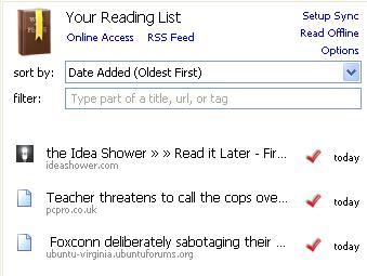 ReadItLater reading list