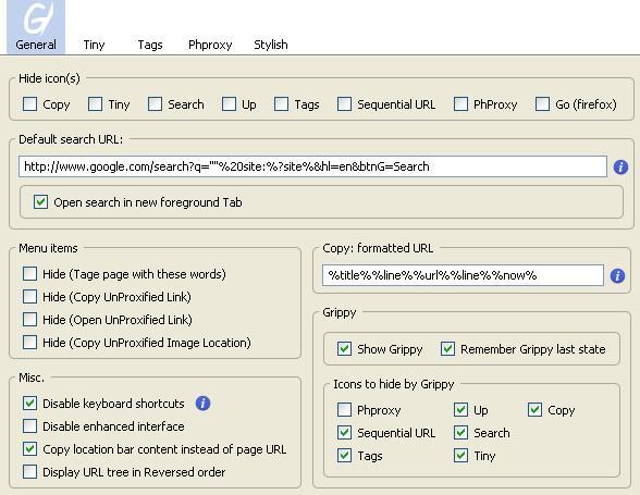 UrlbarExt Address Bar Option Window