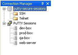 PuTTY Connection Manager Displaying Encrypted Database