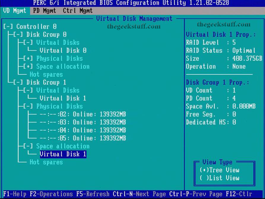 Virtual Disk Status for PowerEdge M610 Blade Server