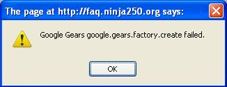 Google Gears google.gears.factory.create failed error message