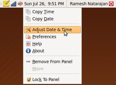 """Fig: Ubuntu Launch """"Adjust Date & Time"""" Window"""