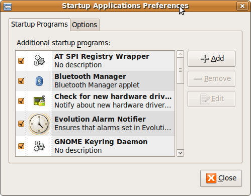 Fig: Ubuntu Startup Application Preferences