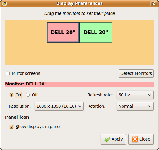 Fig: Dual Monitor Setup on Ubuntu