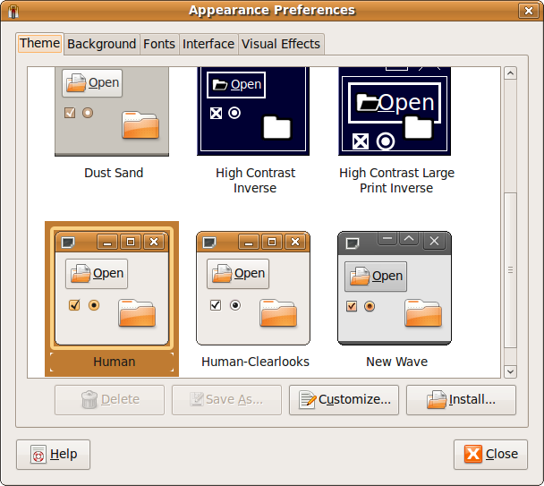 Fig: Ubuntu Appearance Preferences Window