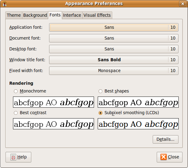 Fig: Ubuntu Font Appearance Preferences Window