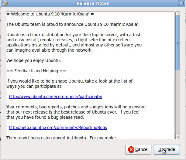 Ubuntu 9.10 Upgrade Release Notes