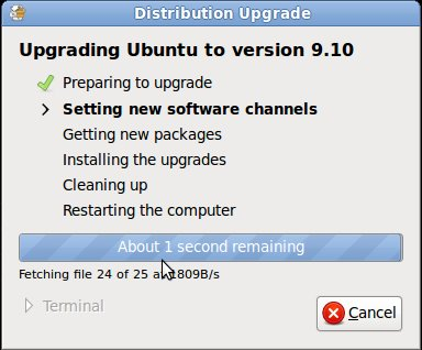 Ubuntu Upgrade to 9.10 - Setting new Software Channels
