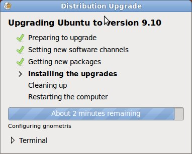 Installing the Updates for Upgrading Ubuntu 9.10