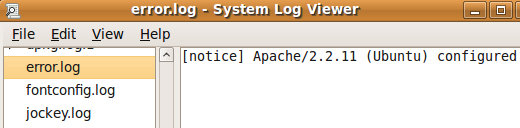 Ubuntu System Log Viewer showing Apache Error Log