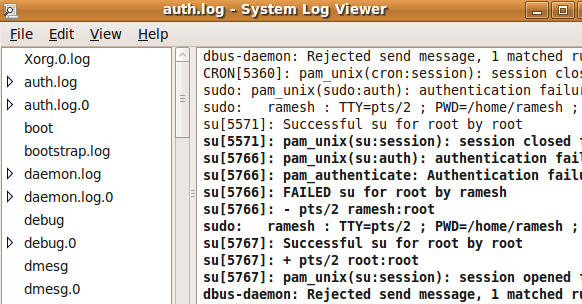 Ubuntu System Log Viewer User Interface