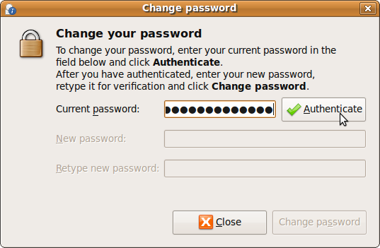 Ubuntu Change Password - Enter Current Password