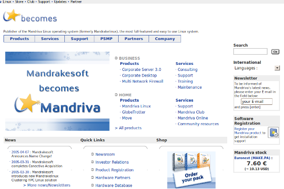 Mandriva 2005 Website