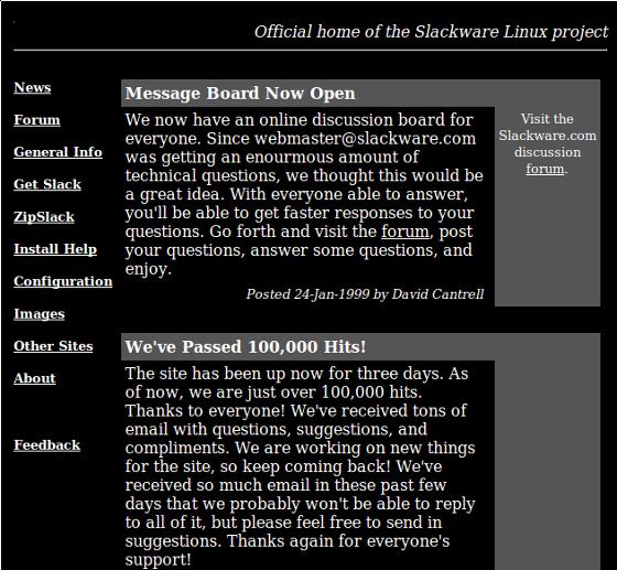 Slackware Website 1999