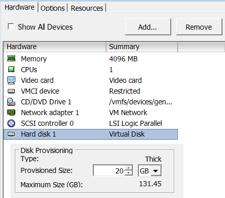 VMWare ESXi 4: How to Add Virtual Hard Disk (from Datastore