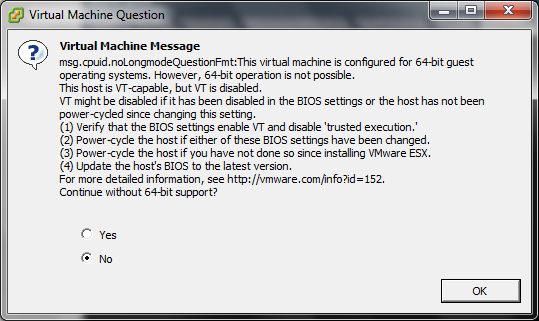 Dell BIOS: Enable VT, 64-bit, and Execute Disable for VMWare