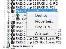 EMC Navisphere – How to Delete LUN and RAID Group on CLARiiON