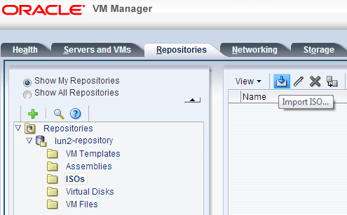 Oracle VM Import ISO
