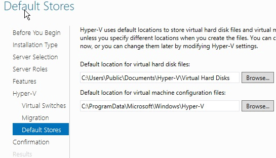 Windows Hyper-V Default Stores