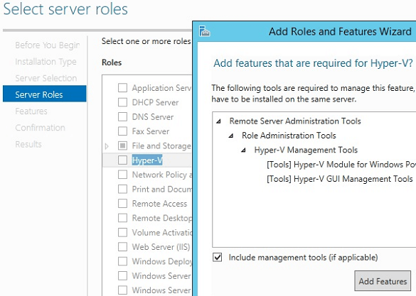 Windows Add Roles Select Hyper-V
