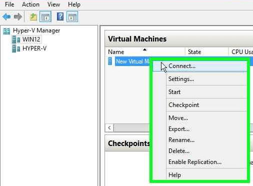 Hyper-V Connect to New VM