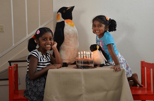 "Diya and Neha with ""Penguinee"" and ""Baby Penguin"""