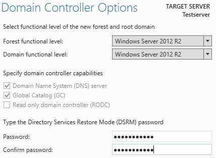 AD Domain controller options