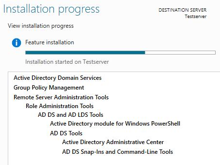 AD Installation progress