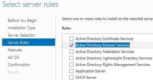 AD Select server roles