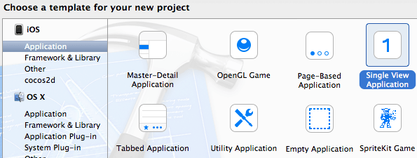 Xcode Choose Template