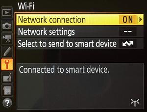 Nikon Menu Wi-Fi Connected