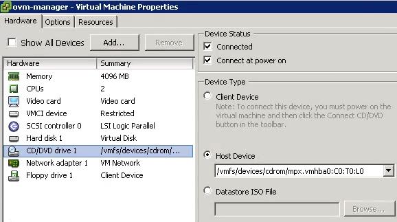 ESXi ISO VM Properties