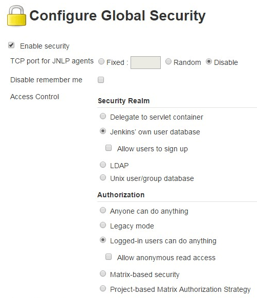 Jenkins Configure Global Security