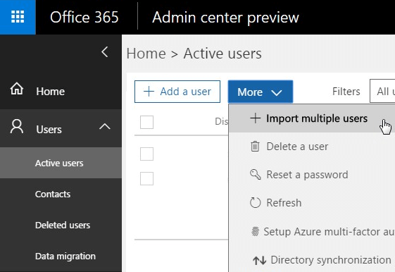 Office 365 Import Multiple Users